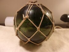 Vintage Unusual Olive Green Glass Hand Blown Fishing Net Float