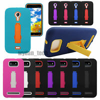 For BLU Hybrid Impact Stand Hard Silicone Case Phone Dual Layer Cover