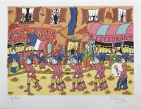 Lithographie Vercruyce *1949 Parade 14 Juillet France 27 x 21cm