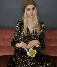 ORLA KIELY Greta AW17 V Neck Flared Midi Dress Sample 100% Silk UK8