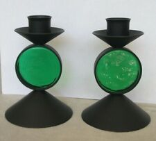 2 MCM black metal and green glass candleholders Erik Hoglund, Ystad Metal,Sweden