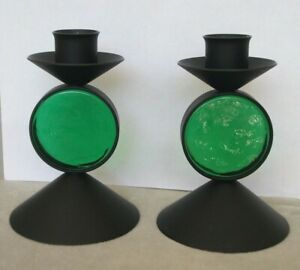 2 MCM black metal and green glass candleholders Erik Hoglund, Ystad Metal,Sweden