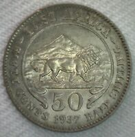 1937 H East Africa Silver Fifty Cents Coin Lion Mountains AU Almost UNC 50c