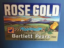 "Antique Fruit Label ""Rose Gold Bartlett Pears"" c1920-30's Yuba City, Ca."