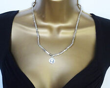 """Necklace with Coin Look Pendant 20"""" Gorgeous Brushed Silver Tone Square Bead"""