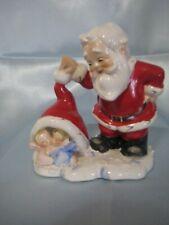 Christmas Lefton Santa Figurine with Little Angels Underneath his Cap
