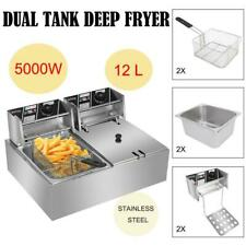 Zokop 127qt Commercial Electric Deep Fryer 2 Tank Food Frying Machine 12l 5kw
