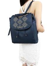 Michael Kors Riley Large Leather Backpack Navy Blue Gold Studded Drawstring Flap