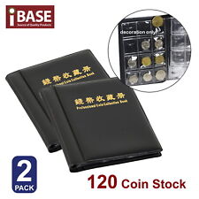 2x Coin Stock Holder Money Storage Pocket Penny Collection Album Book Collecting