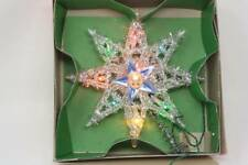 "Vintage Silver Tinsel Christmas Tree Topper Electric 8"" Christmas Decoration"