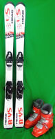 Head BYS Youth 117 cm Skis with mondo 22.5 Ski Boots - USED