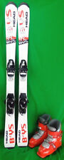 Head BYS Youth 117 cm Skis with 21.5 or 22.5 Ski Boots - Gray - USED