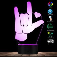 I Love You American Sign Language 3D Led Optical illusion Light Usb Night Lamp