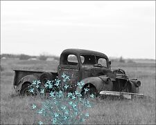 Teal Gray Wall Art Photo Print Vintage Truck Flowers Home Decor Bathroom Bedroom