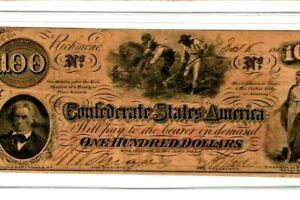 "$100 ""SLAVES HOEING""(CONFEDERATE)  $100 ""NICE"" CRISPY!!!! CSA WATERMARK !!!!!!!"
