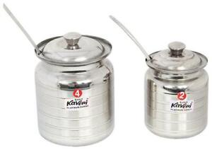 Kaveri Traditional Ghee Pot Container Oil Can Set of 2-ZPB