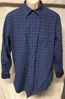 Murano Mens Button up Long  Sleeve Shirt size L blue navy light blue Print Cuff