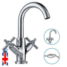 Modern Cross Head Bathroom Sink Mono Basin Mixer Tap Chrome Swivel Spout Faucet
