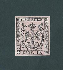MODENA 1854-FRANCOBOLLO DA 10cent. ROSA - CON PUNTO DOPO LE CIFRE
