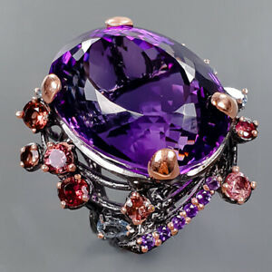 AAA+color IF 40 ct+ Amethyst Ring Silver 925 Sterling  Size 8.5 /R177604