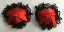 Red Satin & Black Lace Heart Shaped Nipple Tassles Covers Pasties Stick On Sexy
