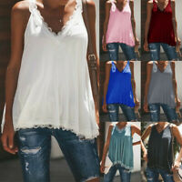 Plus Size Womens Sleeveless Lace Tank Tops Summer Casual V Neck  	Beach T Shirts