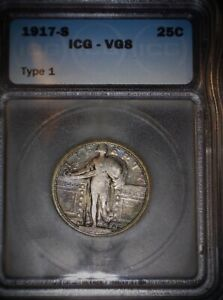 1917-S Standing Liberty Quarter, Type 1, ICG  VG8, Tough Date, Toned. Issue Free