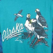 vintage 80s ALASKA PUFFIN POLY TEES T-Shirt MEDIUM/LARGE animal nature surf ski