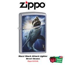 Zippo Mazzi Shark Attack Lighter, Street Chrome #29568