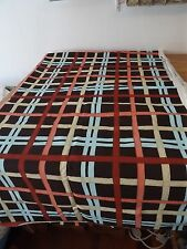 "canvas cotton THICK UPHOLSTERY FABRIC BROWN BLUE ORANGE YELLOW PLAID 56""W X 2.5"