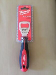 NWT NIP New Milwaukee Tool Bottle Opener Red Black Hardened Steel Head