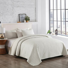 3-Piece Bedspread Coverlet Set Quilt Set Solid Color Queen/King Size
