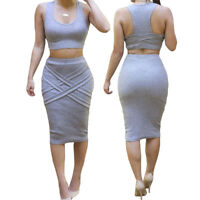Sleeveless Round Neck Crop Top Skirt Outfit Two Piece Bodycon Bandage Dress