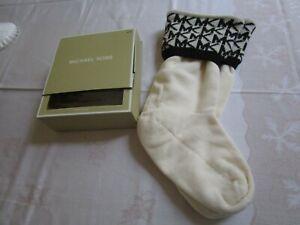Michael Kors Boot Socks Black Cream Knit Wool Size S/M NIB