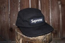 Supreme Hat 5-Panel Campcap NAVY BLUE Brown Leather Strap F/W 2016 Box Logo CDG