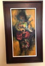 Guillermo Nunez Abstract Large oil painting Guitar Player Listed Chilean Artist