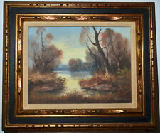 Original Oil Painting on Canvas, Landscape, Waterscape, Signed, Fall Scene