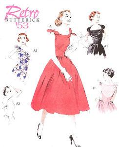 Tie Top Dress 50s Retro PATTERN 1953 Repro Butterick 5708 Sz 6-22 Sundress