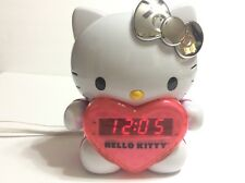 Cute Hello Kitty AM/FM Projection Alarm Clock Radio Silver Bow LED Time Display