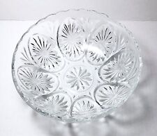 Vintage Anchor Hocking Star & Cameo Clear Glass Bowl With Medallions