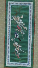EARLY 20c CHINESE SILK EMBROIDERY FORBIDDEN STITCHES OF BIRD ON GRAPE BUSHES