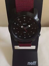 NEW IN BOX Neff Tactical Watch Brushed Black Steel Case w/ Nylon Band NF0235