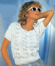 "Ladies/women's short sleeve sweater/summer top knitting pattern 30""-40"" DK 307"