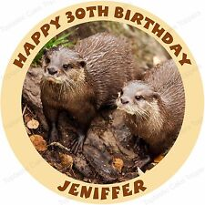 Personalised Otters Otter Family Edible Icing Birthday Party Cake Topper
