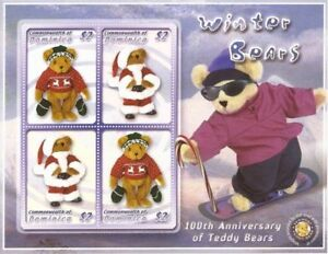 """Dominica 2003 - Teddy Bears """"Winter Bears"""" Stamps - Sheet of 4 Stamps - MNH"""