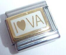 I LOVE VA Italian Charm - 9mm GOLD HEART VIRGINIA US fits Classic Bracelets USA