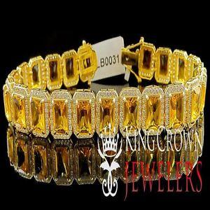14K YELLOW GOLD OVER REAL SILVER CANARY CITRINE TOPAZ LAB DIAMOND MENS BRACELET