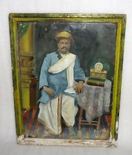Antique Old Rare Artist Sign Fine Tribal Indian King Or Thakur Portrait Painting