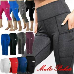Womens Capri Leggings Yoga Pants Pocket Gym Fitness Running Exercise Sports Crop