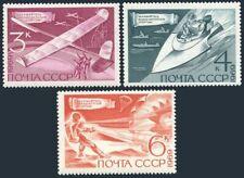 Russia 3684-3686,MNH. Technical Sport,1969.Model aircraft,Motorboats,Parachute.